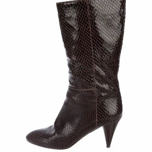 Loeffler Randall Brown Snakeskin Boots Size 8.5